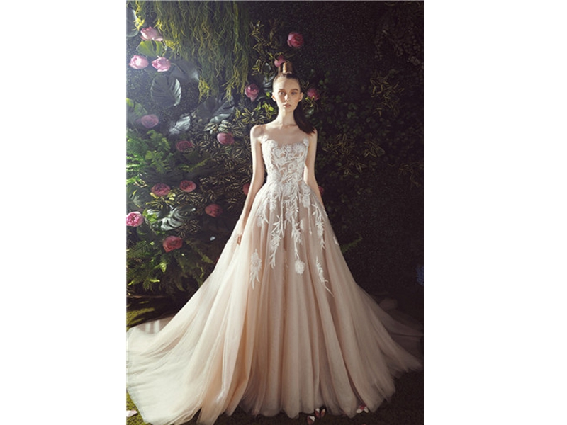 Spaghetti Straps Lace Applique Ball Gown, Lace Up Back Design