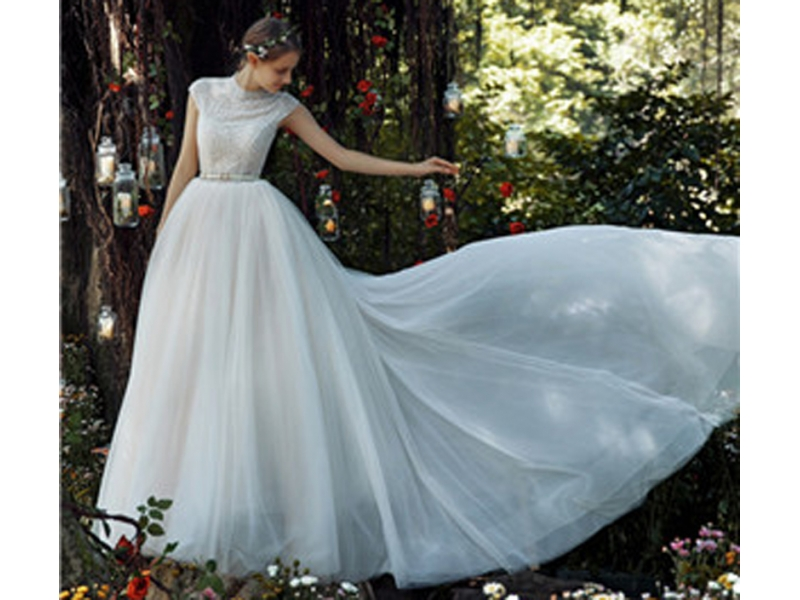 High-Neckline Cap Sleeve Pearl Beading with White Belt Wedding Gown