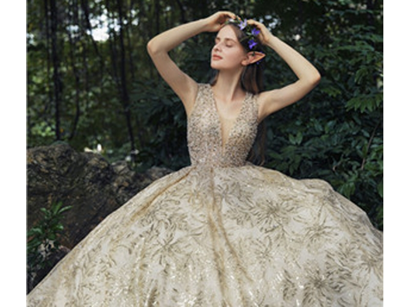 Sleeveless Sequins Beading Bodice Ball Gown, Lace Up Back Design