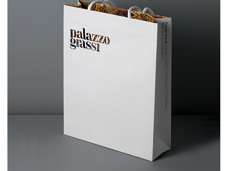 Cotton rope handle custom color printed paper bags with your own logo